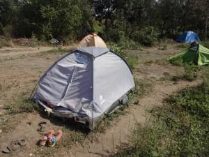 Первая палатка.